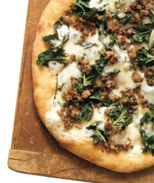Sausage, Spinach and Provolone Pizza