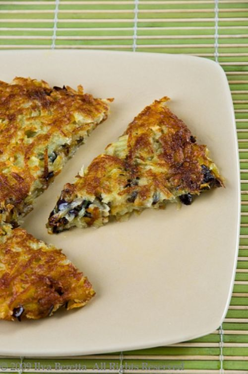 Potato Cake with Eggplant and Chives