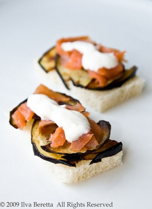Smoked Salmon/Eggplant Crostini with Horseradish