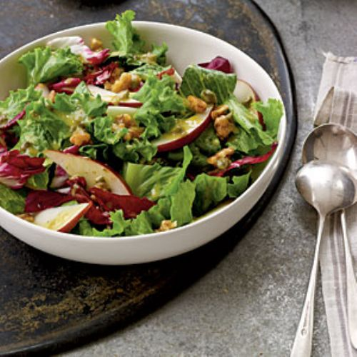 Candied Walnut, Pear, and Leafy Green Salad