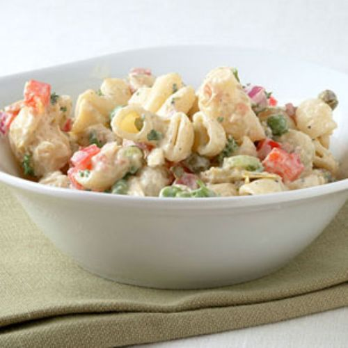 Macaroni Salad with Bacon, Peas, and Creamy Dijon