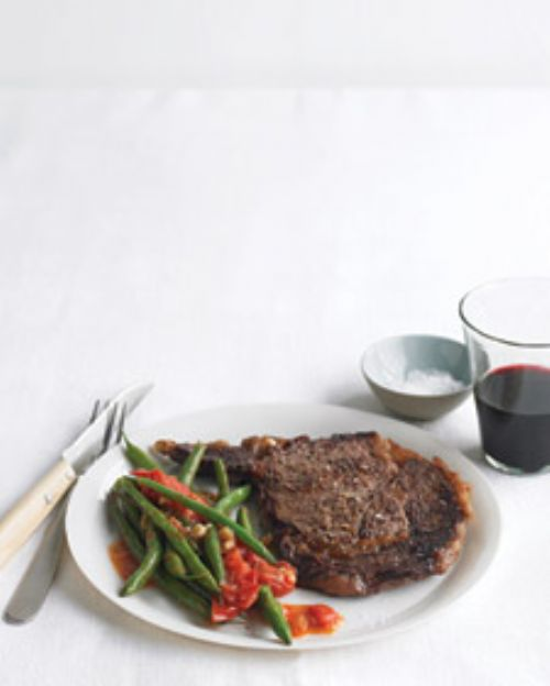 Rib Eye Steaks with Sauteed Green Beans & Tomatoes