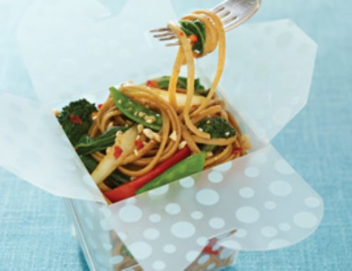 Spicy Asian Stir-Fry with Whole-Wheat Linguine