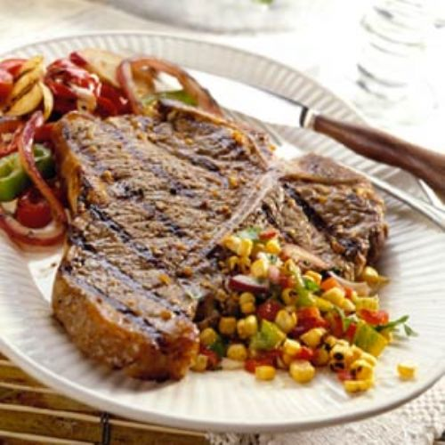 Garlic and Pepper T-Bones with Grilled Corn Relish