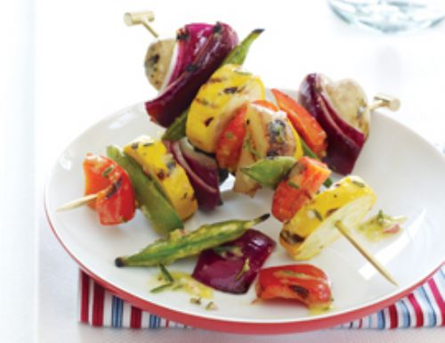 Vegetable Skewers with RosemaryDijon vinaigrette