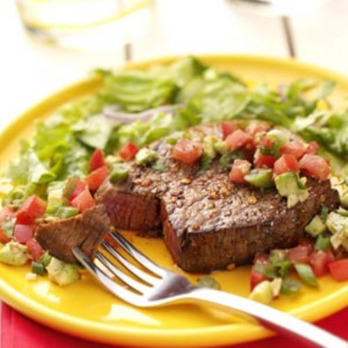 Peppered Steaks with Salsa
