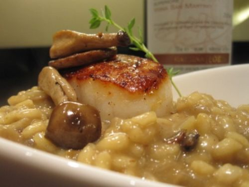 Risotto with Wild Mushroooms and Scallops