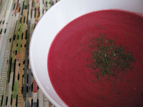 Roasted Beet and Garlic Soup