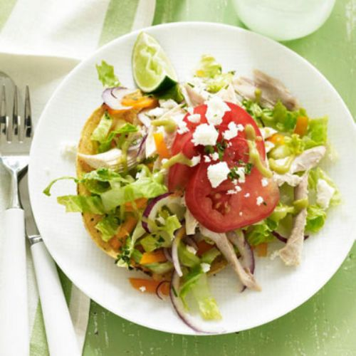 Chicken Tostadas with Avocado Sauce