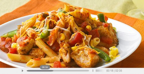 Cheesy Chicken & Salsa Skillet Pasta