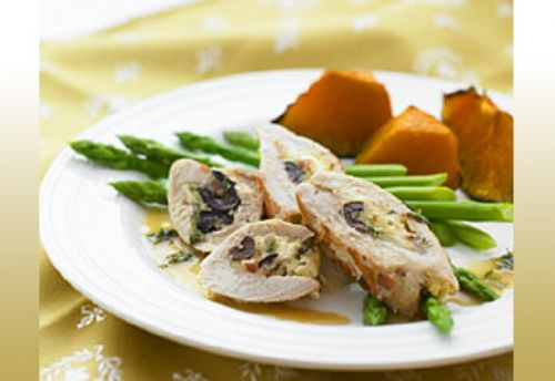 Bacon, Olive and Almond Stuffed Chicken