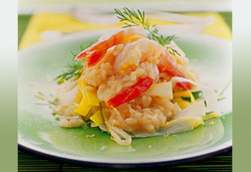 Cheesy Leek and Prawn Risotto