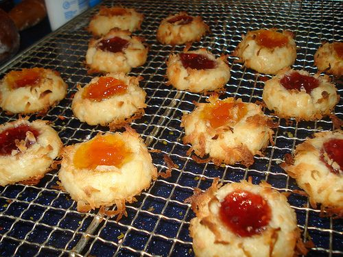 Coconut or Nut - Jam Thumbprint Party Cookies