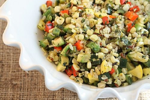 Southwest rice and corn salad with lemon dressing