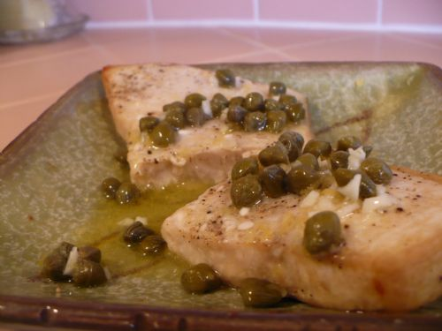 Broiled lemon caper swordfish