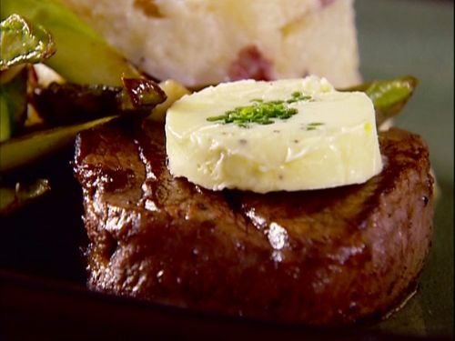 Flaming Filet Mignon with Chive Butter