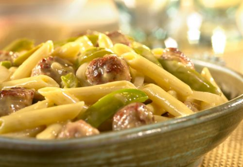 Cheddar Penne with Sausage & Peppers